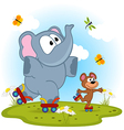 Elephant and mouse roller skating vector