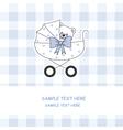 Baby boy carriage with a teddy bear vector