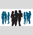 Silhouettes of three young women vector