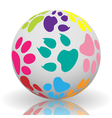 Paw prints on the ball vector