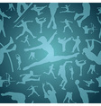 Sports silhouettes blue seamless pattern vector