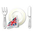 Plate fork knife and british flag breakfast vector