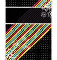 Color diagonals over black background vector