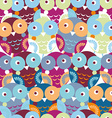 Cute colorful seamless pattern with owl blue pink vector