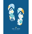 Blue and yellow flower silhouettes flip flops vector