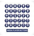 Media player blue glossy buttons set vector