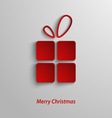 Christmas card with red gift on white background vector