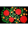Bright large roses and other flowers painted on a vector