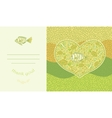 Abstract template for greeting card with fishes vector