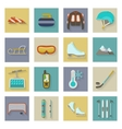 Winter sports flat icons set with shadows vector