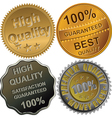 Gold silver and bronze medals for quality vector