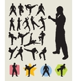 Karateka martial art action silhouettes vector