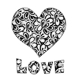 Heart and love text vector