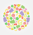 Bright fruit doodle icon vector