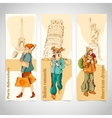 Urban people vertical banners sketch colored vector