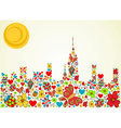 Spring time city skyline background vector
