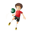 A boy using the ball with the pakistan flag vector