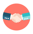 Two businessmen shaking hands flat circle icon vector