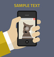 Flat design hand of the person with mobile vector