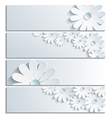 Set of grey banner with 3d chamomile vector