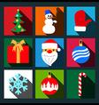 Set of christmas long shadow flat icons vector