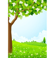 Green landscape with tree vector