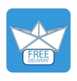 Free delivery icon with paper boat vector
