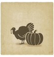 Thanksgiving symbols turkey and pumpkin vector