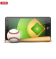 Mobile phone with baseball ball and field on the vector