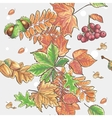 Seamless autumnal pattern with leaves chestnuts vector