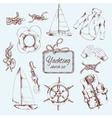 Yachting sketch set vector