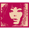 Abstract beautiful woman portrait card vector