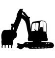 Compact excavator silhouette vector
