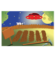 Vegetable garden by night vector
