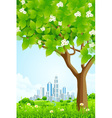 Green background with tree and modern city vector