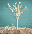 Abstract background with bicycle under tree vector
