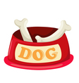 Dog bowl with big bone vector