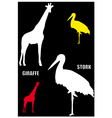 Giraffe and stork vector