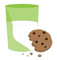 Partially eaten cookie and milk vector