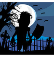 Crazy man with an ax on a dark night vector