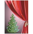 Christmas tree with red curtain vector