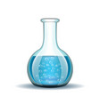 Chemical laboratory transparent flask with blue vector