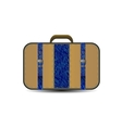 Brown travel bag with big blue denim inset vector
