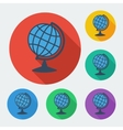 Flat style icon with long shadow six colors globe vector