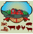 Bright colorful rural landscape with a set of icon vector