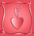 Silk ribbon heart copy vector