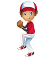 A young baseball catcher vector
