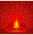 Red christmas card with forest of pine vector