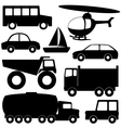 Set 2 of different transport silhouettes vector