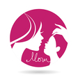 Mother and baby silhouettes icon vector